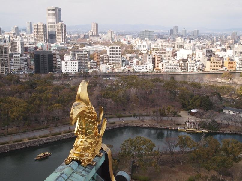 大阪城天守閣より北西を望む