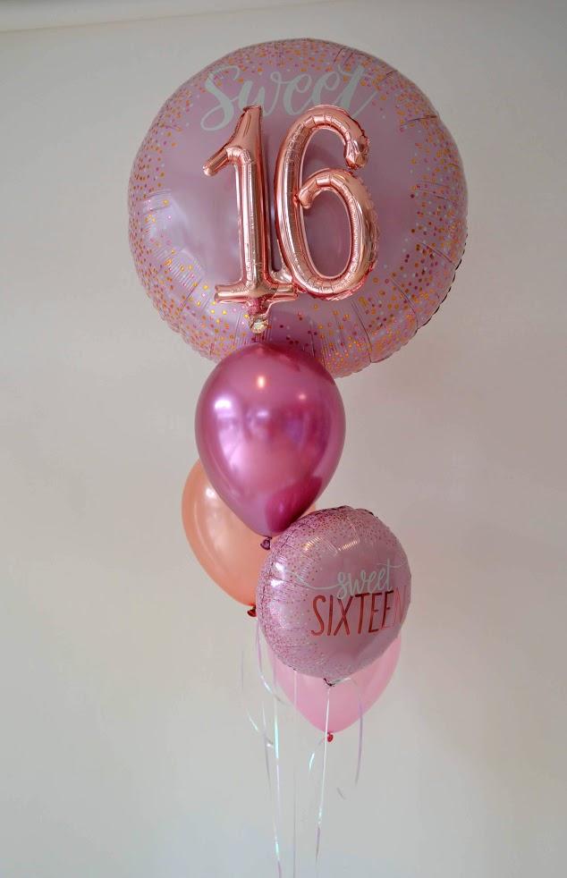 Sweet Sixteen. Endlich 16. Tolles Bouquet, besonderer Riesenballon mit 3 D Effekt.