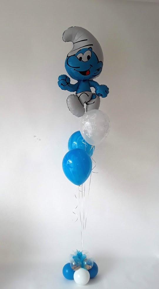 Die Schlümpfe sind los. Ballongeschenk mit Geld im Ballonfuß. Schon gefunden?