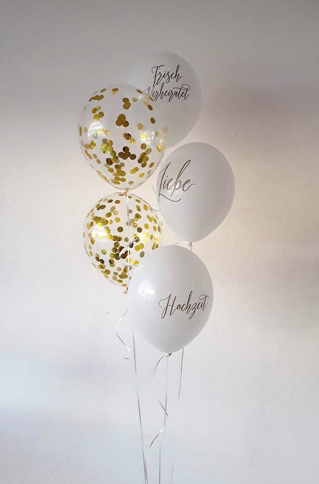 Edles Ballonbouquet zur Hochzeit. Goldglitzerballons mit Messageballons als Bouquet gebunden. Ein tolles Geschenk und eine tolle Raumdekoration.