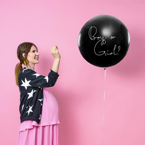 Genderparty Balloon. Der schwarze, undurchsichtige Ballon ist gefüllt mit rosa oder blauem Konfetti. Lassen Sie sich überraschen oder überraschen Sie.