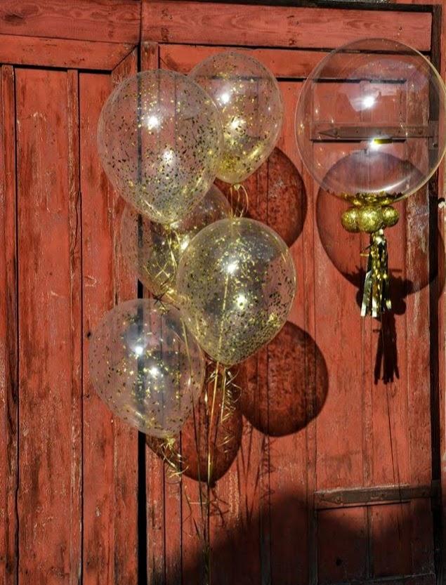 Glitzer, Glitzer und noch mehr Glitzer. Ein echt glitzriges goldenes Ballonbouquet. Edel und schick.