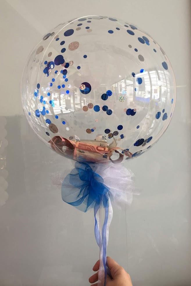 Ein Geldzauberstab. Mit Konfetti gefüllter komplett durchsichtiger Ballon inkl. farblich passender Schleife. Außergewöhnlich.