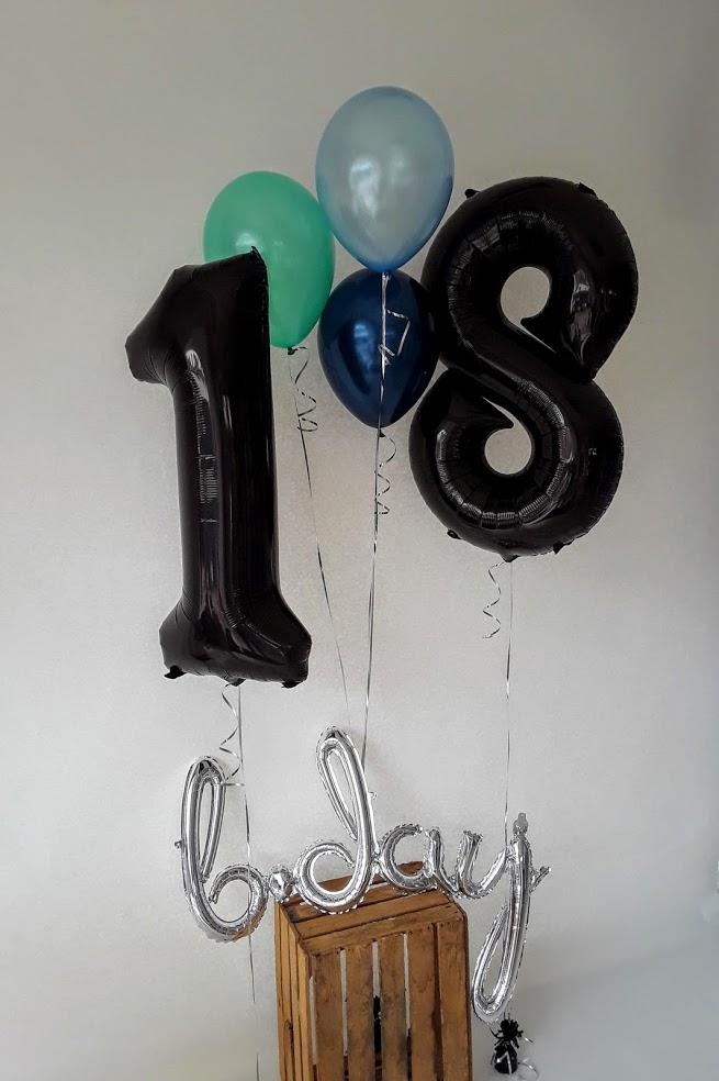 Zum 18. Geburtstag ein Traum in türkis-blau-schwarz. Besonders toll: ein b-day Schriftzug.