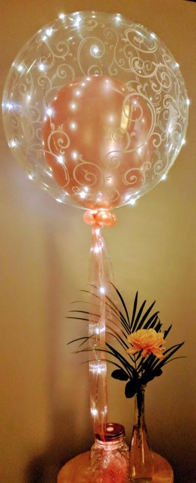 Ein Lichtertraum von Bubbleballon in rosegold.