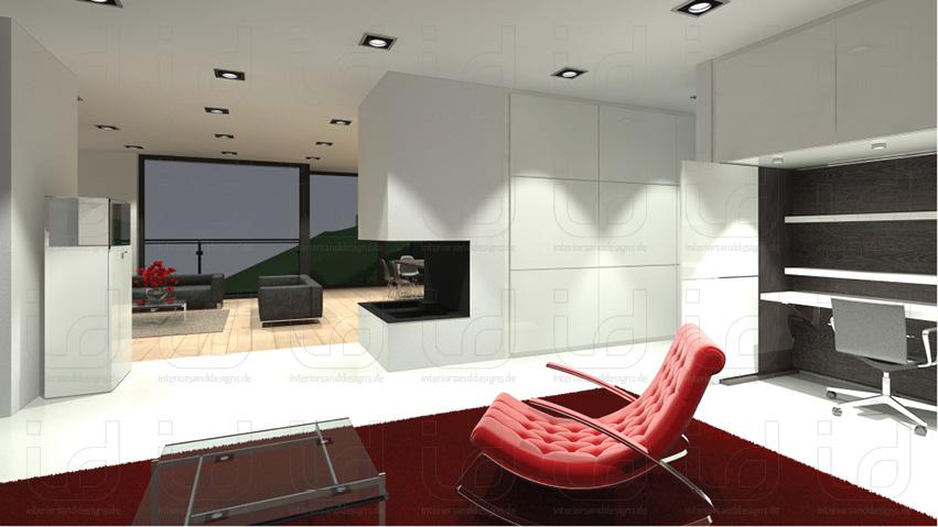 SLOPE-HOUSE Q Büro + Kamin
