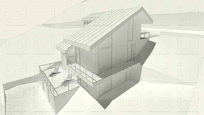 SLOPE-HOUSE Aussenansicht Südwest Clay-Rendering
