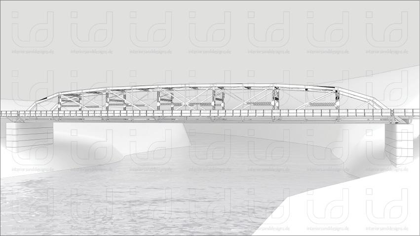 Pennsylvania Trussing Bridge Clay-Rendering