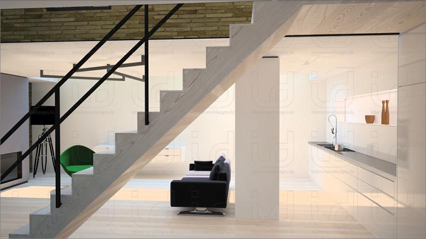 Black-Box_Blick auf Wohn- und Küchenbereich