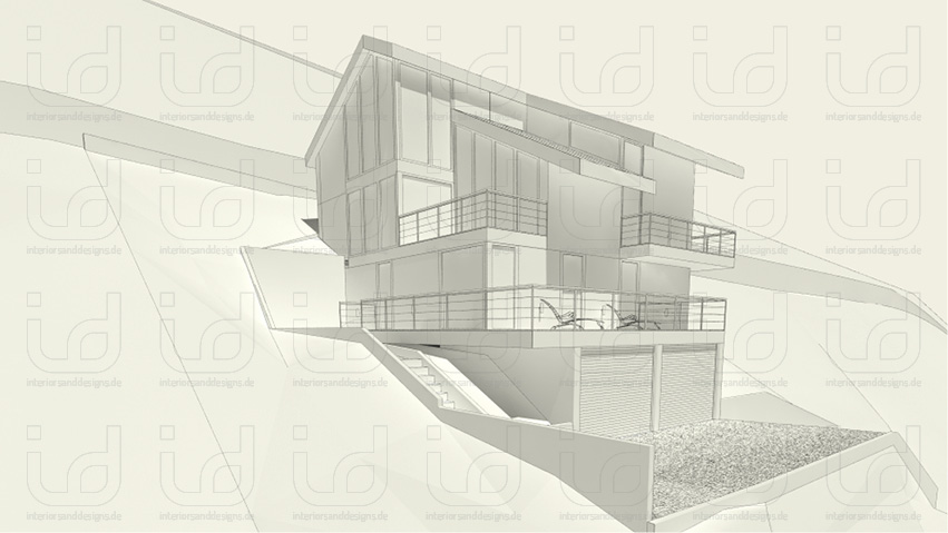 SLOPE-HOUSE Aussenansicht Nordwest Clay-Rendering