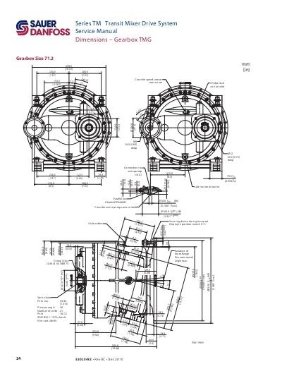 Medidas Reductor gearbox Sauer 61.2 mixer hormigonera