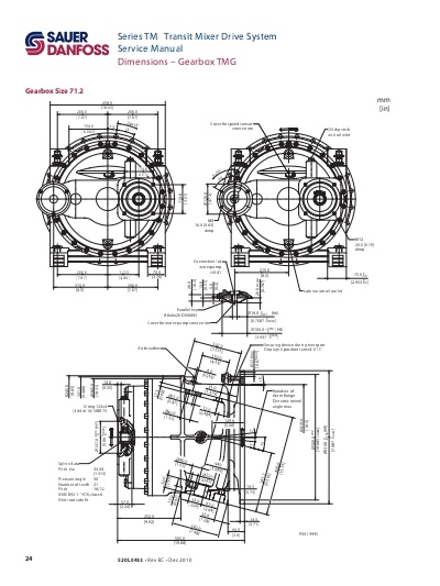 Medidas Reductor gearbox Sauer 61.2 mixer hormigonera. Retén reductor Sauer.