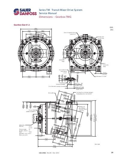 Cotas dimensiones Reductor gearbox Sauer 71.2 mixer hormigonera. Catalog Sauer spare parts gearmotors.