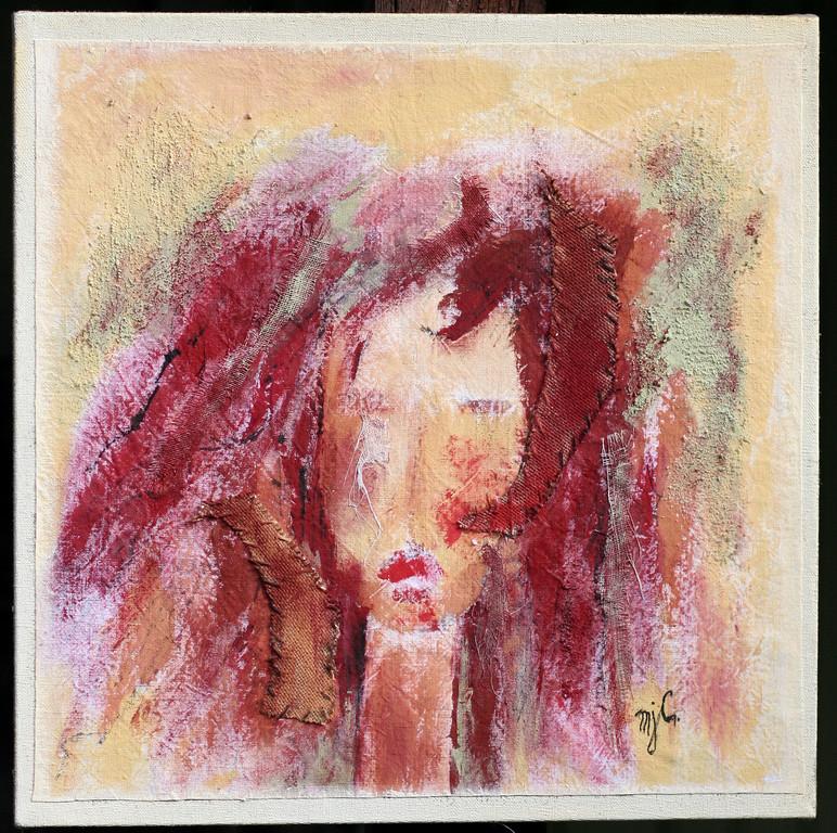 """""""Femme sauvage 2""""             Acrylique mixte                                 50/50cm"""