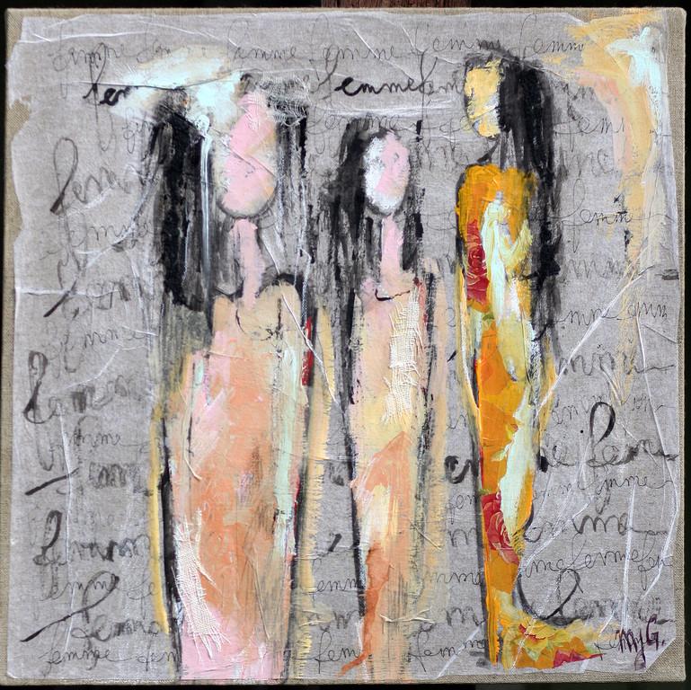 """""""Féminité""""                          Acrylique, collage, encre                    50/50cm"""