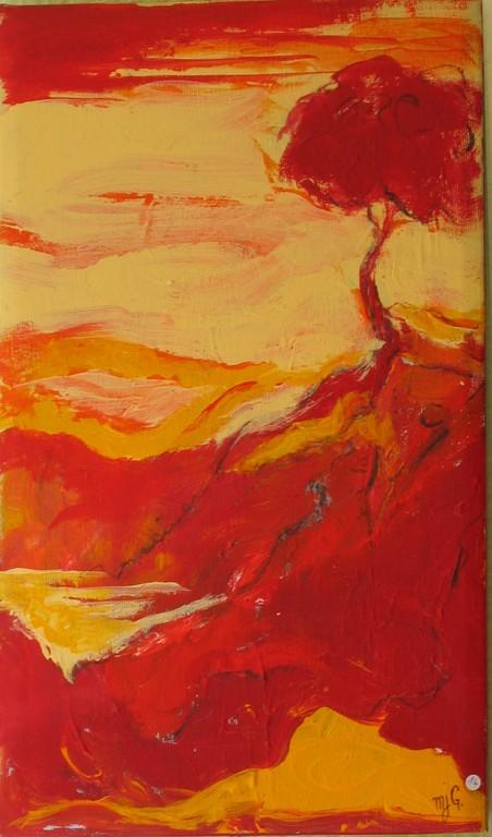 Petit arbre rouge               Acrylique                                      24/41 cm