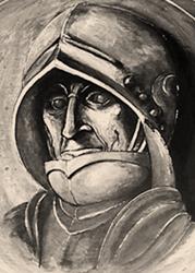 Kopf des Rodensteiners in Ritterrüstung