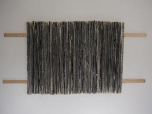 Schichtung, Acryl auf Papier auf Holz, 100 x 200x 7cm