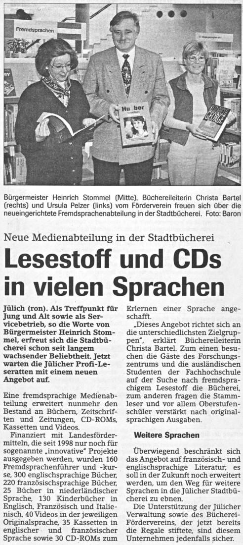 Jülicher Nachrichten vom 11.12.1999