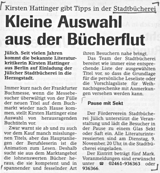 Jülicher Nachrichten vom 13.10.1999