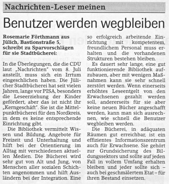 Jülicher Nachrichten vom 17.07.2003