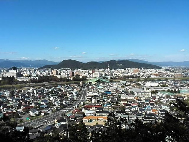 弁天山から見た福島市内。