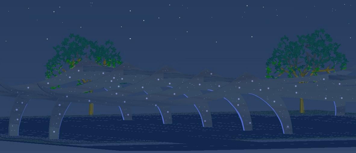 Nachtansicht mit LED-Beleuchtung (Modell)