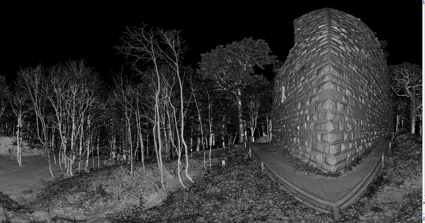 Scannerdaten 360°-Scan  Westseite der Burg