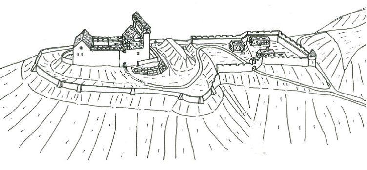 Ansicht der Gesamtburg von Westen