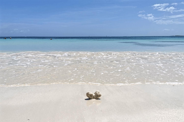 Wie man sich das in der Karibik vorstellt: weißer Sandstrand und türkises Meer