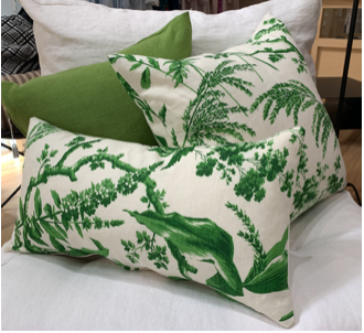 Aspa Green. Also available in Blue and Raspberry. Matched with Caravane green linen cushions.