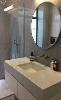Marble bench top, square basin, sliding drawers, modern taps with round mirror