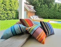 Outdoor striped canvas cushions, very versatile