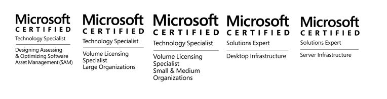 Zertifizierungen t3work Consultants, Microsoft Certified, MCSE, Volume Licence, SAM, Software Asset Management, Desktop, Windows Server