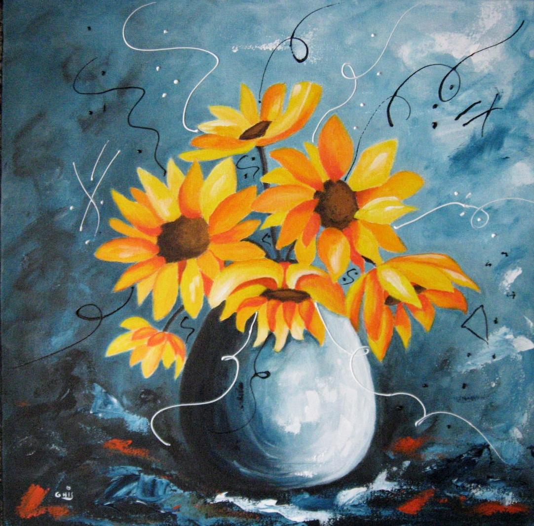 Bouquet de soleils,Grandeur:20x20,Technique mixtes,Prix sur demande