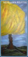 L'arbre jaune Grandeur:16x8 huile effet vitrail Vendu