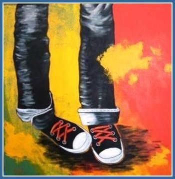 Les souliers de course Grandeur:24x24,techniques mixtes 1er Prix en Art Contemporain