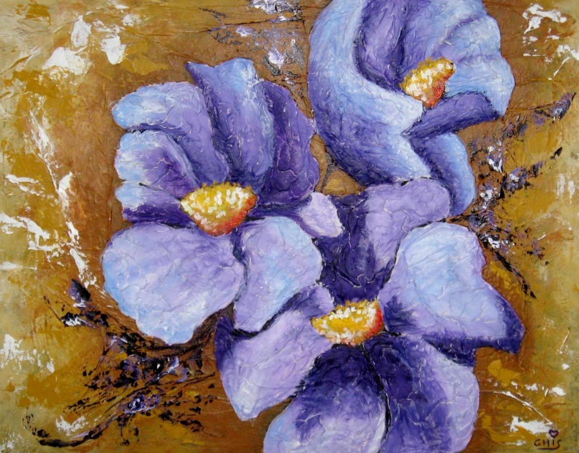 Fleurs de Lyse,Grandeur:14x18,Techniques mixtes,Vendu.