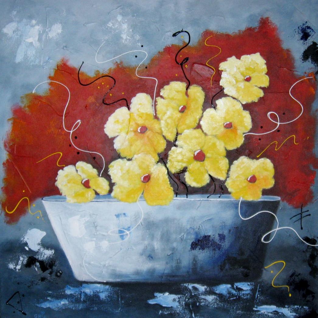 Le bac à fleurs,Grandeur:24x24,Techniques mixtes,Prix sur demande.