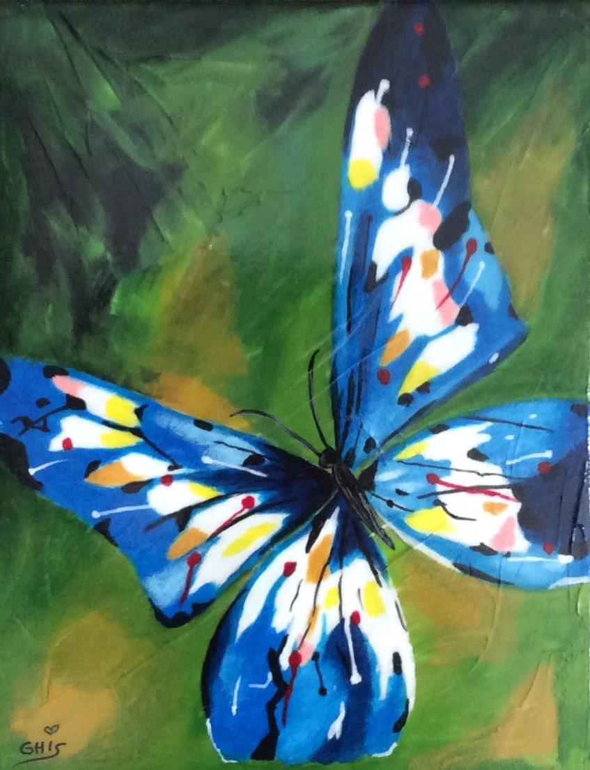 Titre:Le papillon bleu,Grandeur:14x11,techniques mixtes