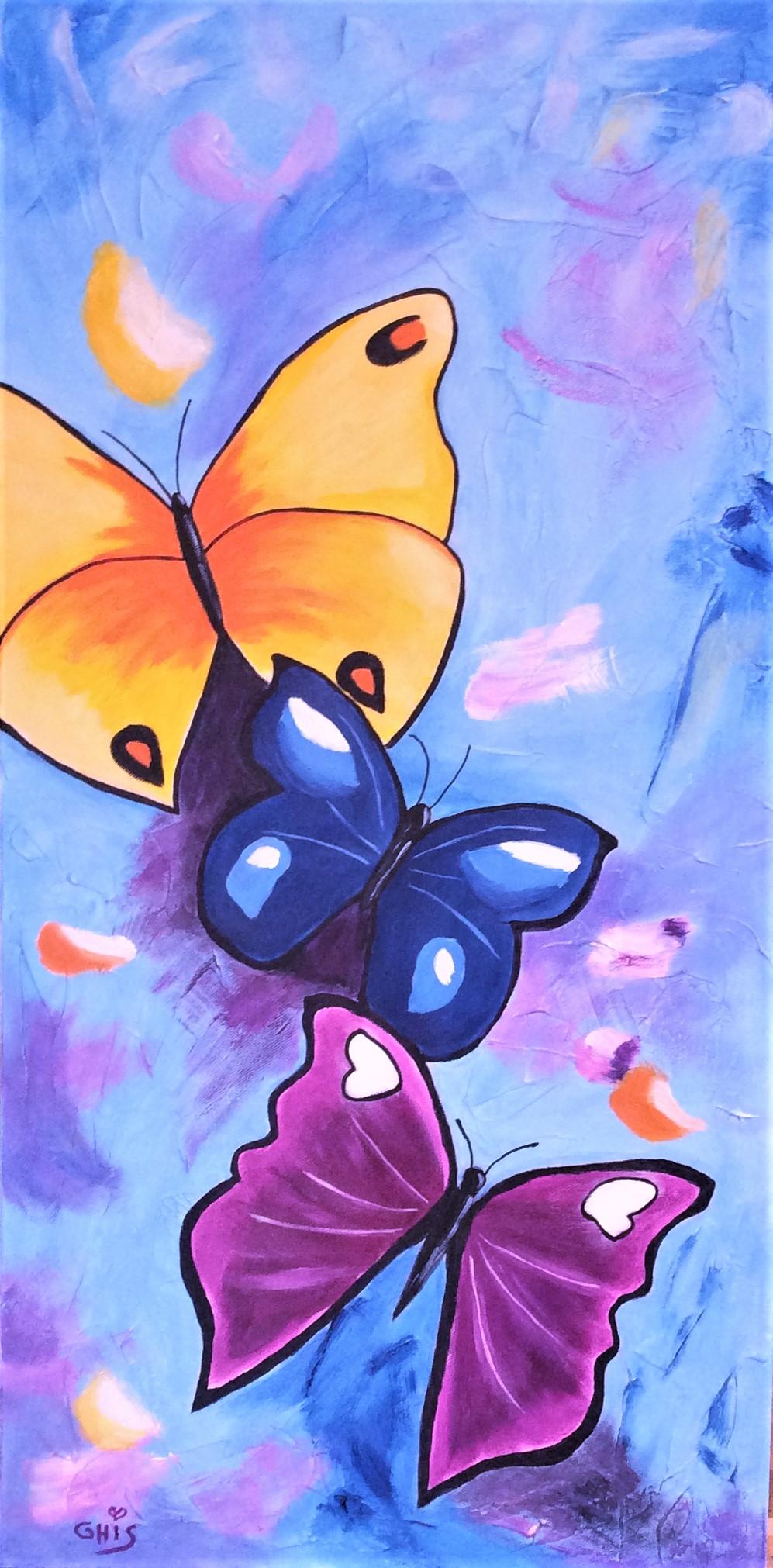 Papillonnage,Grandeur:30x15,Techniques mixtes