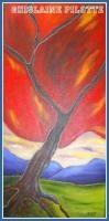 L'arbre rouge Grandeur: 24x12 huile effet vitrail Prix sur demande