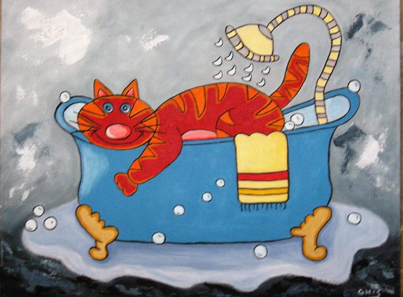 Dans son bain,Grandeur:14x18,Acrylique,Prix sur demande