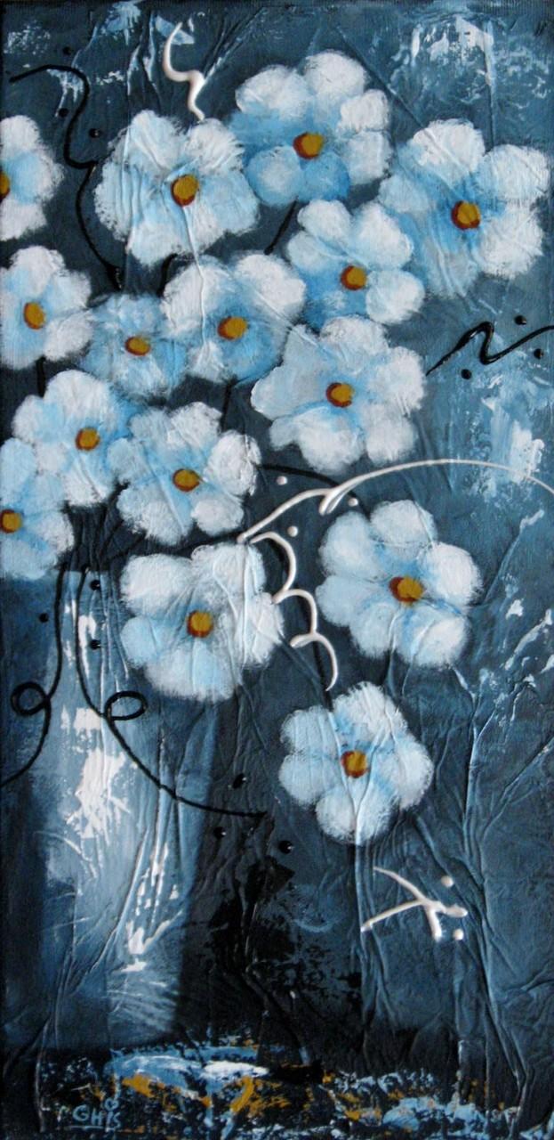 Fleurs du printemps,Grandeur:16x8,Techniques mixtes.Vendu