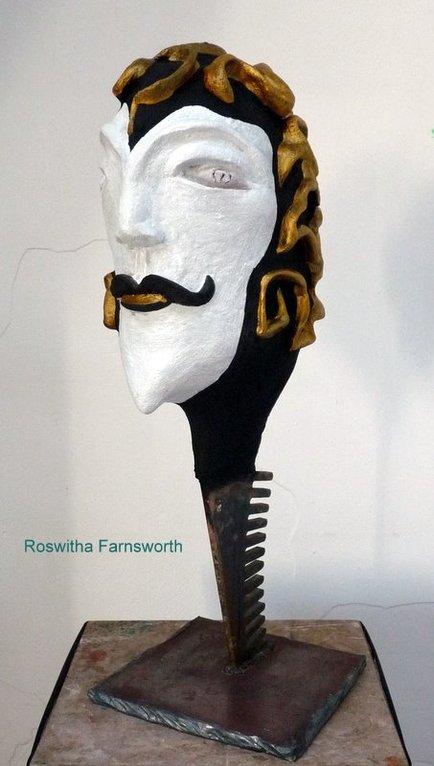 Kopf cranium gyrus (Schädel Gehirnwindungen)  2011, NonaD (Kunststein)