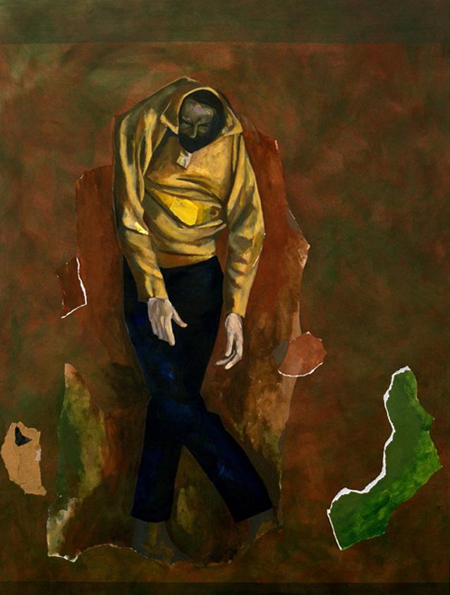 """Paysage et homme - Landscape with a man, 2002, 150 x 200 cm - 59"""" x 79"""",  acrylique et collage sur toile - acrylic and collage on canvas. Photo: Éliane Excoffier."""