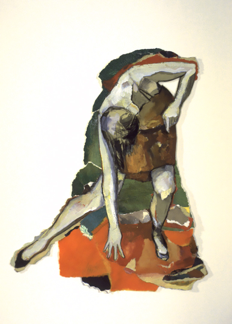 """Corps D'attention IV, 1995, 37 x 22 cm - 14.5"""" x 8.5"""",  techniques mixtes sur papier - mixed media on paper. Collection privée, private collection."""
