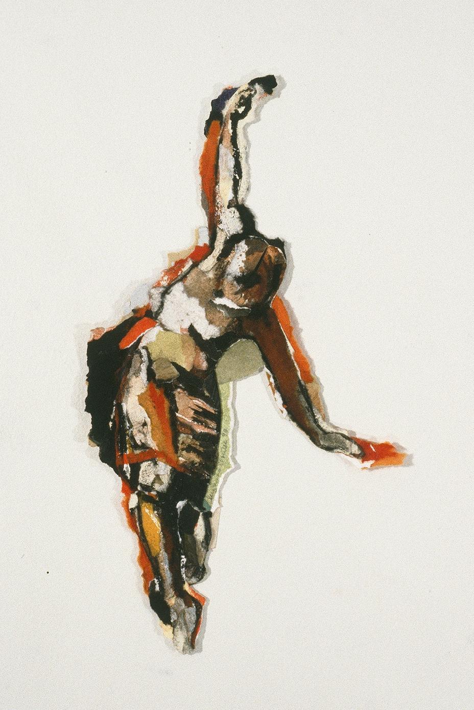 """Je ne suis qu'un petit bruit, 1994, 29 x 16 cm - 11.5"""" x 6"""",  techniques mixtes sur papier - mixed media on paper. Collection privée, private collection."""