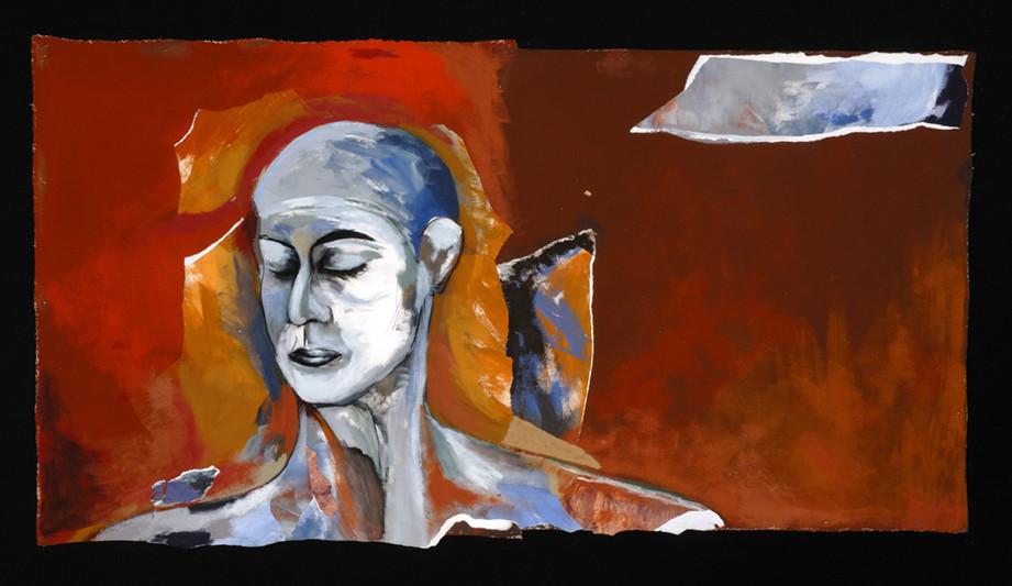 """Méphisto, 2007, 59"""" x 79"""" / 150 x 200 cm.  Acrylic and collage on canvas / Acrylique et collage sur toile. Photo: Réal Capuano."""