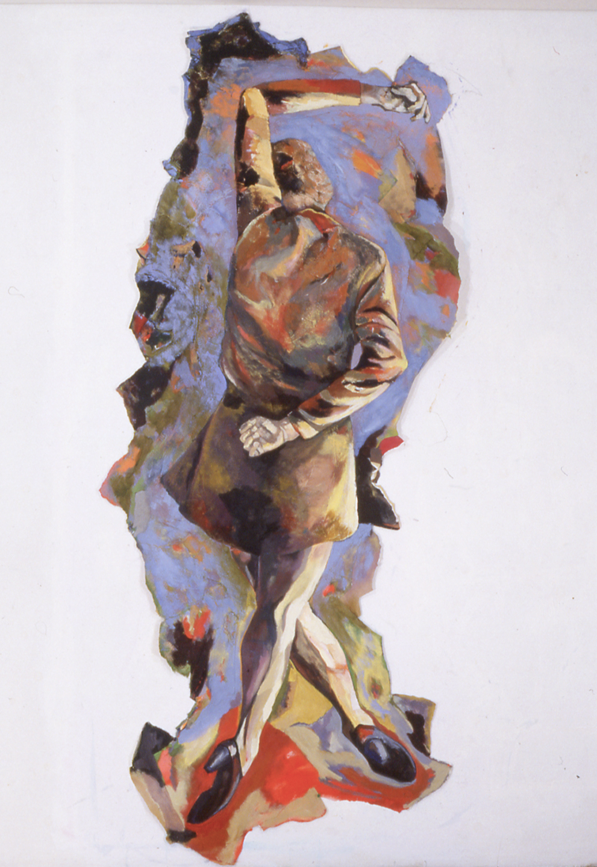 """Sans titre, 1999, 234 x 100 cm - 92"""" x 39"""", acrylique et collage sur papier - acrylic and collage on paper."""